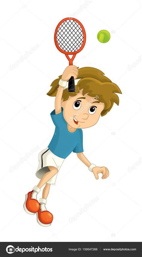 cartoon boy tennisser opleiding stockfoto  illustratorhft