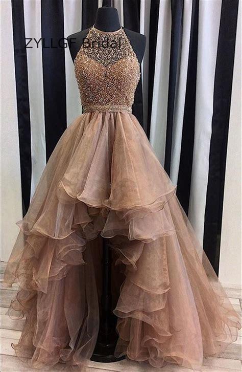 zyllgf bridal asymmetrical beaded high  prom dresses
