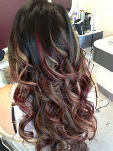 Red and Blonde Hair with Caramel Highlights