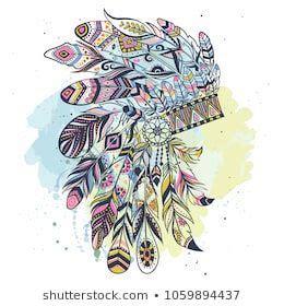 boho illustration  headdress  feathers tribal