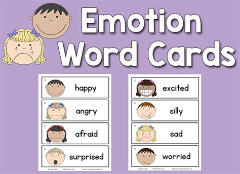 emotion word cards prekinders