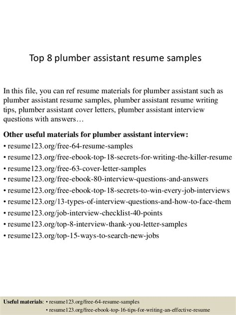 top  plumber assistant resume samples
