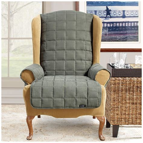 sure fit wing chair recliner slipcover sure fit 174 waterproof quilted suede wing chair recliner