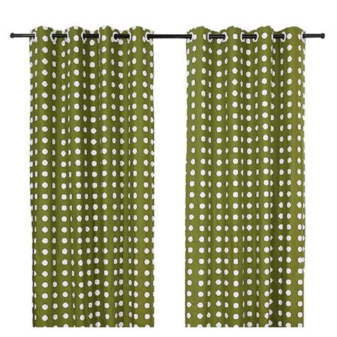 on sale green cotton print polka dot curtains