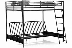 Lit Mezzanine 140x190 : lit mezzanine avec banquette convertible int gr e noir ~ Melissatoandfro.com Idées de Décoration