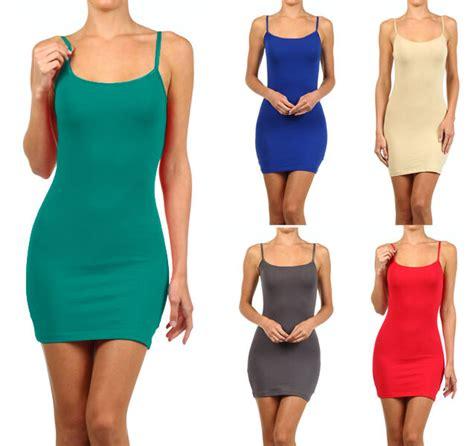 Dress Atasan Tank Top cotton camisole dress tunic slip length stretch