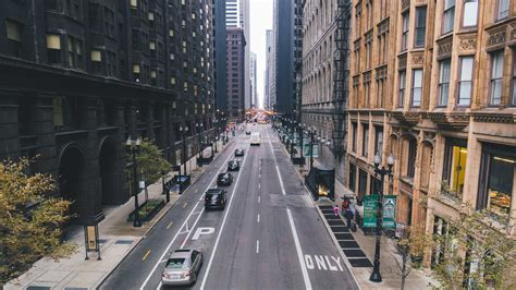 hd background chicago skyscrapers street cars straight