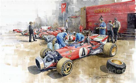 Der gerahmte kunstdruck aus der manufaktur von petrolheads für petrolheads setzt automobile leidenschaft. Scuderia Ferrari Paddock Spanish GP 1971 Ferrari 312B2 ...