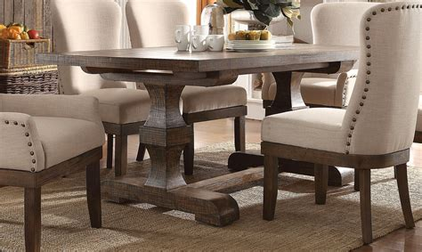 leonel  trestle dining table  brown distressed wood