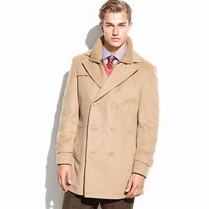 lauren by ralph lauren labrada double breasted wool blend With camel pea coat mens