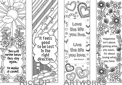 Printable Colouring Bookmarks With Quotes, Coloring