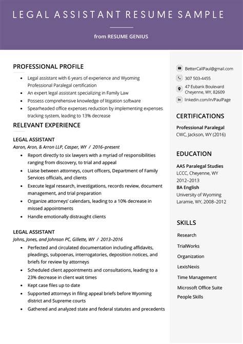 legal assistant resume  writing tips resume genius