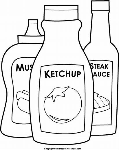 Ketchup Mustard Bbq Clipart Pages Steak Sauce