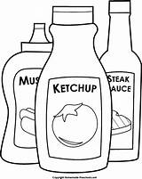 Ketchup Mustard Clipart Coloring Bbq Bottle Steak Sauce Condiments Preschool Clip Colouring Homemade Template Cliparts Library Results sketch template