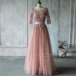 2015 dusty rose bridesmaid dress a line mesh wedding With dusty rose wedding dress