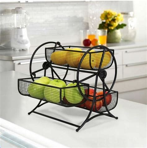 rotating fruit basket rack holder kitchen tier storage