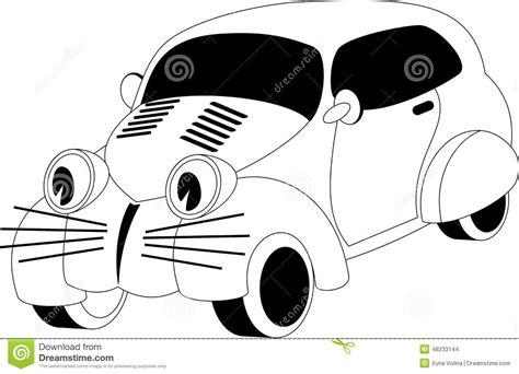 cartoon car black and white cartoon car stock vector image of face outline emotion