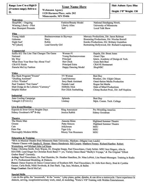 Actor Resume Special Skills