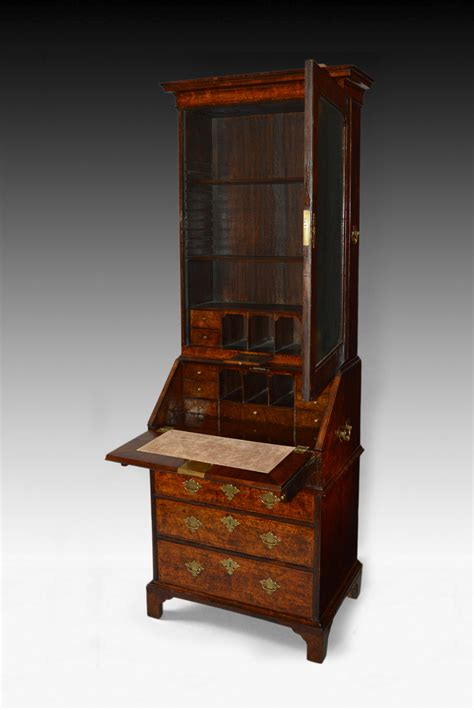 queen size bookcase antique rare small size queen anne walnut bureau bookcase