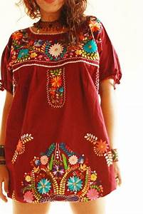 Elena Mexican Vintage Embroidered Hippie Chic Tunic Dress