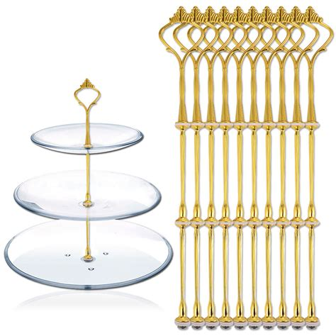 3 Tier Food Stand 10 sets 3 tier cake plate stand handle fittings gold for