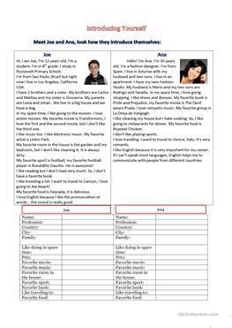 english esl introducing  worksheets