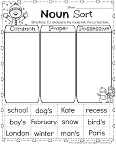 noun worksheets kindergarten possessive nouns