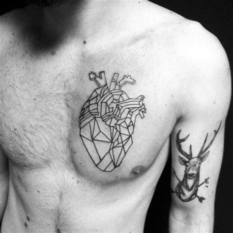 geometric heart tattoo designs  men symmetrical ideas