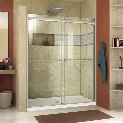 Frameless Bypass Shower Doors Dreamline Essence H 56 In 60 In X 76 In Semi