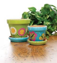 Painted Clay Flower Pots