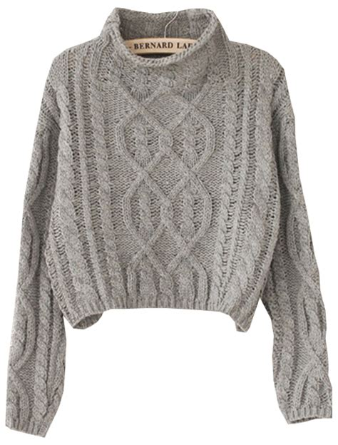 knit sweaters grey high neck crop cable knit sweater shein sheinside