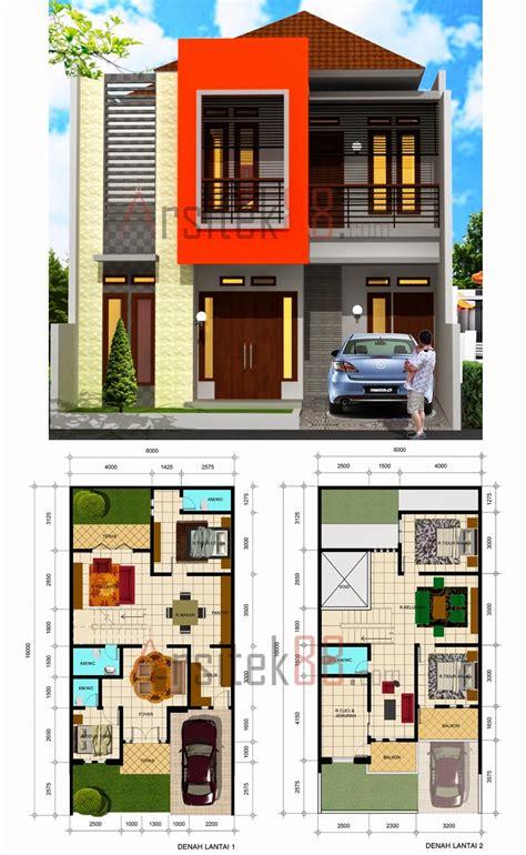 desain rumah minimalis  lantai beserta denah gambar