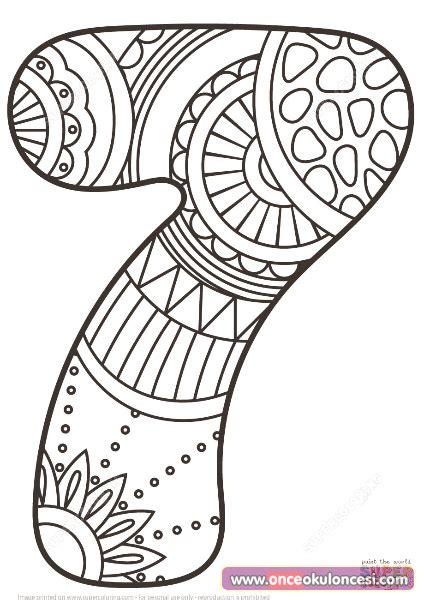 7 Sayısı Mandala Boyama Resimlere Göre Ara Red