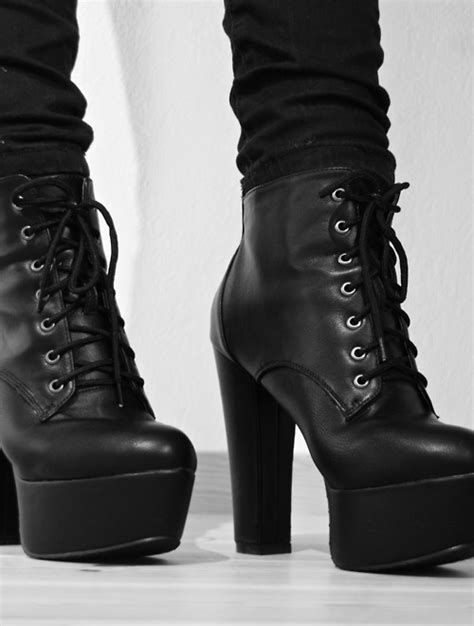 Black and White fashion heels white black Boots combat boots abylon u2022