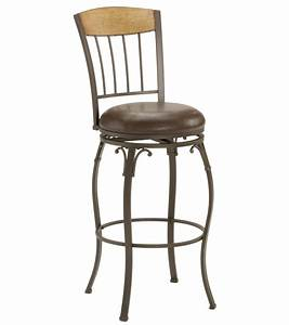 Furniture black metal swivel bar stools with brown wooden for Chair leg pads canada