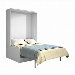Joy armoire lit 140x200 chene blanc avec canape achat for Canapé lit escamotable pas cher