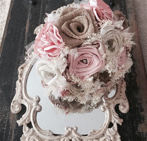 burlap shabby chic shabby chic burlap light pink silk and lace bouquet listing