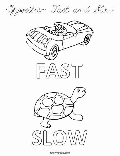 Slow Opposites Fast Coloring Preschool Word Worksheet
