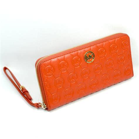 michael kors monogram embossed continental genuine leather wallet wristlet sgmezl