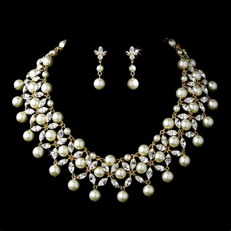 Wedding Jewelry by Gold Ivory Pearl Rhinestone Bridal Necklace Choker