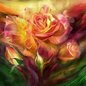 Birth Of A Rose - Sq Mixed Media by Carol Cavalaris