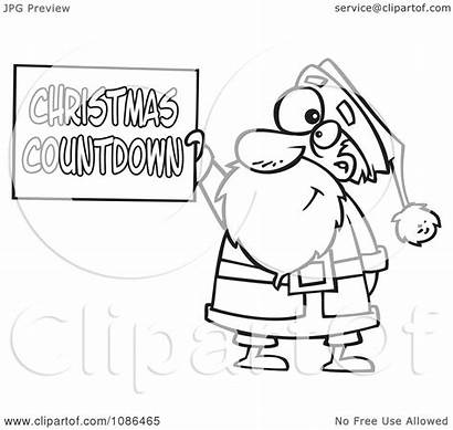 Countdown Christmas Clipart Santa Sign Holding Illustration