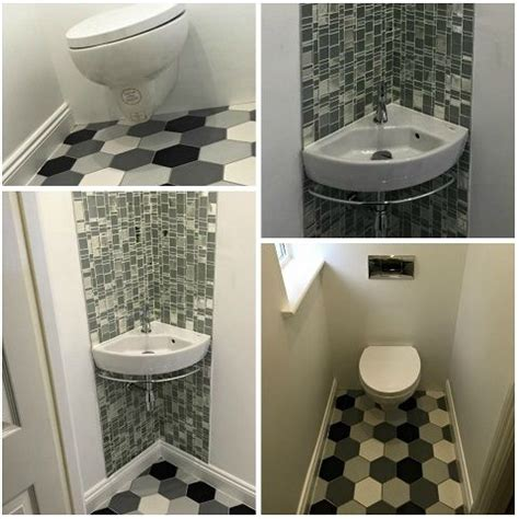 tiling ideas for a small bathroom small bathroom corner sink and wall hung toilet