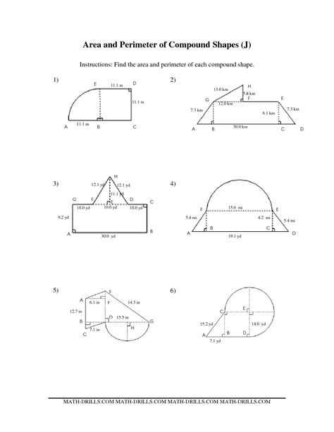 composite shape area worksheets worksheets for all