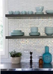 Iridescent Backsplash Ebony Cabinets Floating Shelves