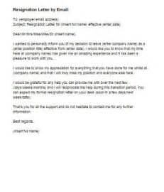 resignation letter by email sample
