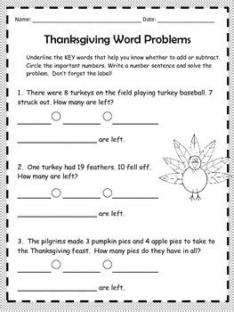 thanksgiving math word problems 2nd grade by lee ann