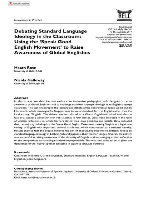Article - Debating Standard Language Ideology in the