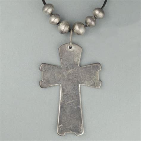 cochiti silver cross pendant  beads  cippy crazy