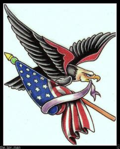 patriotic bald eagle american flag biker usath  july thtemporary tattoo ebay